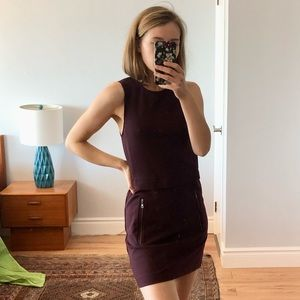 Aritzia Talula Burgundy Work Shift Dress
